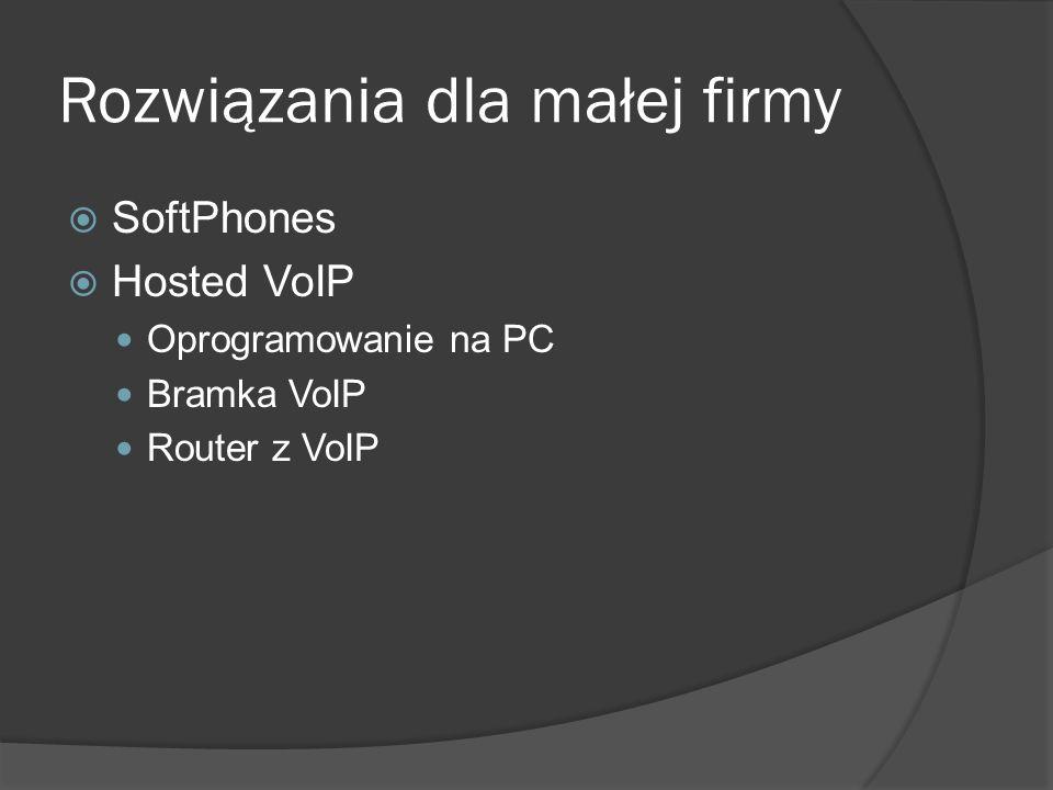 Rozwiązania dla małej firmy SoftPhones Hosted VoIP Oprogramowanie na PC Bramka VoIP Router z VoIP