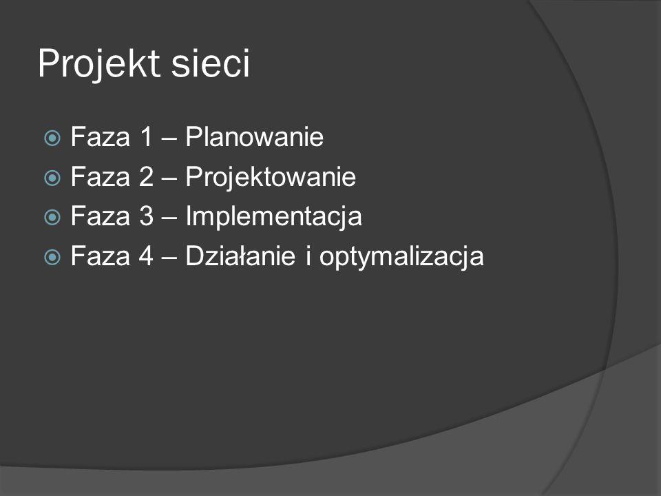Projekt sieci Faza 1 – Planowanie Faza 2 – Projektowanie Faza 3 – Implementacja Faza 4 – Działanie i optymalizacja