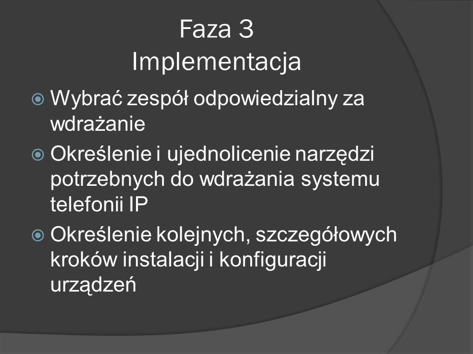 Faza 3 Implementacja Wybrać zespół odpowiedzialny za wdrażanie Określenie i ujednolicenie narzędzi potrzebnych do wdrażania systemu telefonii IP Określenie kolejnych, szczegółowych kroków instalacji i konfiguracji urządzeń