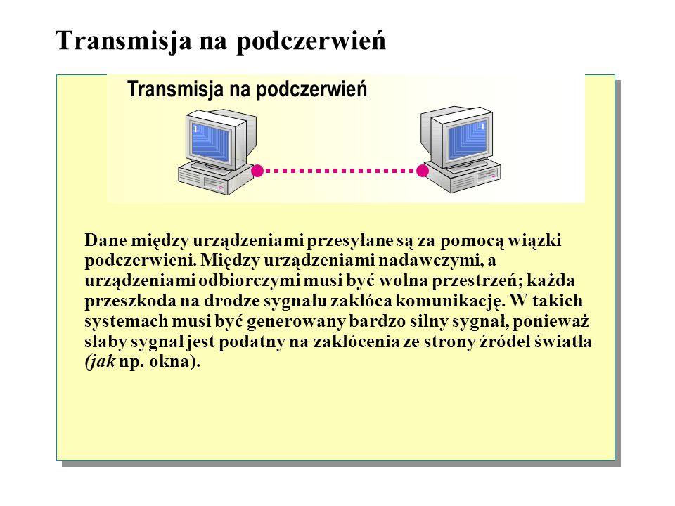 Komunikacja bezprzewodowa Urządzenia do komunikacji bezprzewodowej są używane do podłączenia do sieci, gdy użycie standardowych kart sieciowych i okab