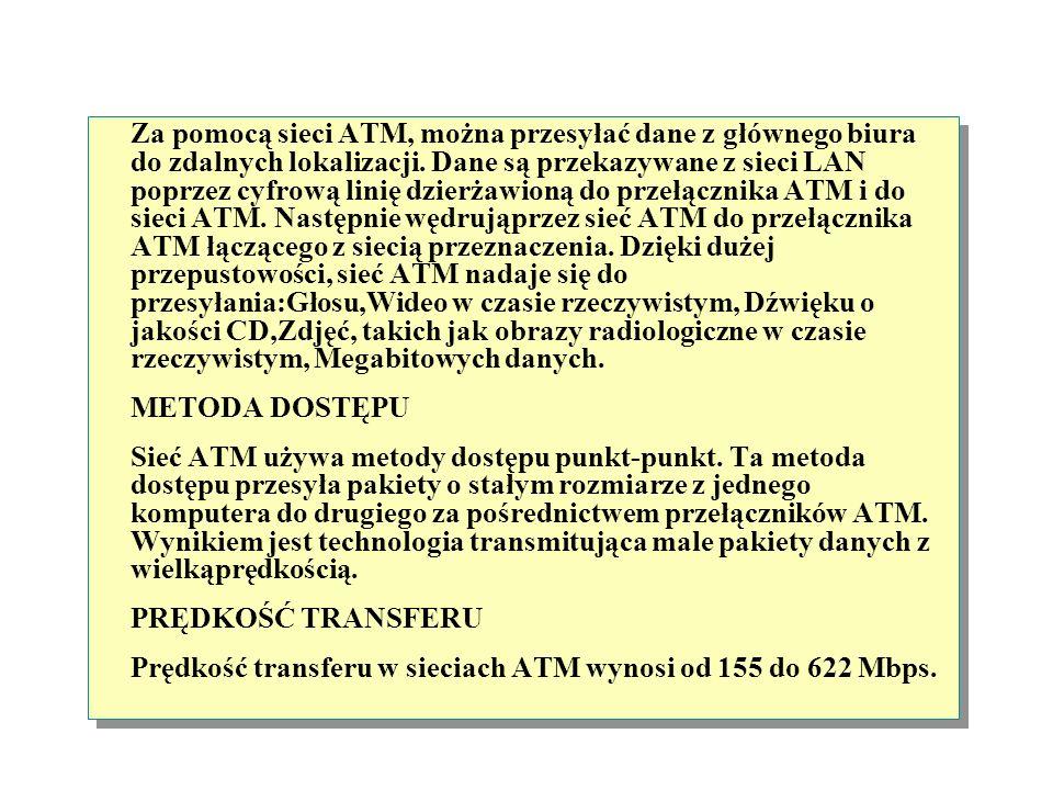 Asynchronous Transfer Mode Przełącznik ATM Przełącznik ATM Przełącznik ATM Komórka Sieć ATM (Asynchronous Transfer Mode) jest siecią z przełączaniem p