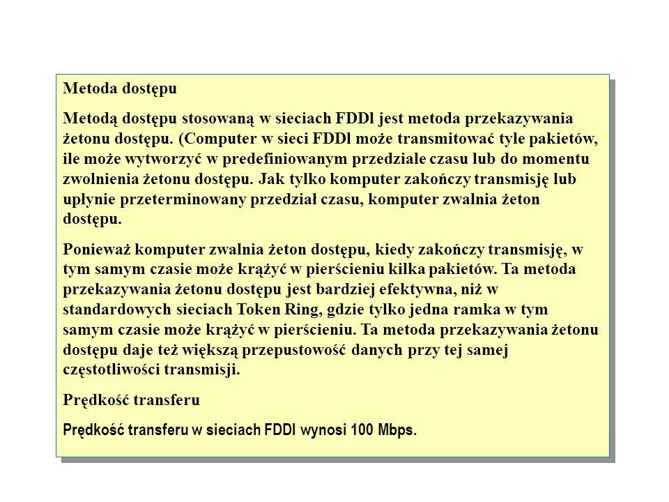 Sieć FDDl składa się z dwóch podobnych strumieni danych przepływających w przeciwnych kierunkach w dwóch pierścieniach. Pierwszy pierścień jest nazywa