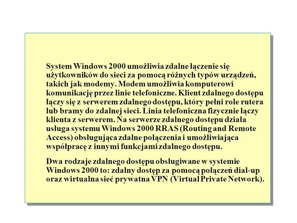 Metody zdalnego dostępu Zdalny dostęp za pomocą Dial-up Klient zdalnego dostępu Serwer zdalnego dostępu Wirtualna sieć prywatna (Virtual Private Netwo