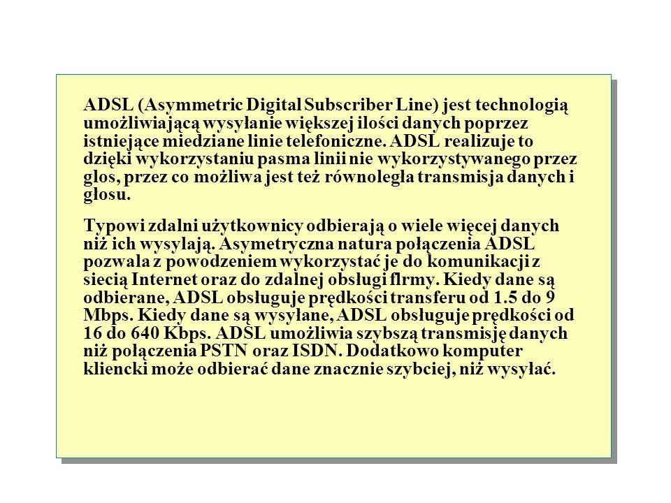 ADSL (Asymmetric Digital Subscriber Line ) Karta LAN Miedziane linie telefoniczne Równoległa transmisja głosu i danych Prędkość pobierania danych 1.5