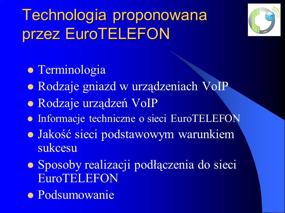 Technologia proponowana przez EuroTELEFON Terminologia Rodzaje gniazd w urządzeniach VoIP Rodzaje urządzeń VoIP Informacje techniczne o sieci EuroTELEFON Jakość sieci podstawowym warunkiem sukcesu Sposoby realizacji podłączenia do sieci EuroTELEFON Podsumowanie