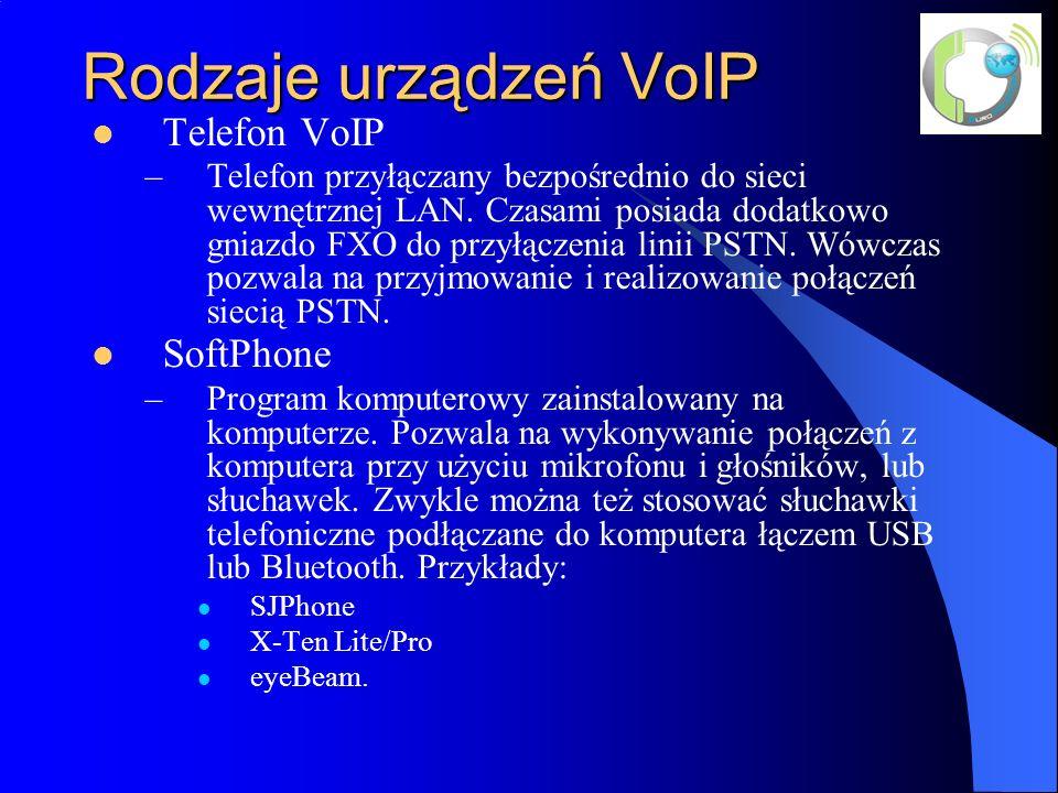 Rodzaje urządzeń VoIP Telefon VoIP –Telefon przyłączany bezpośrednio do sieci wewnętrznej LAN.
