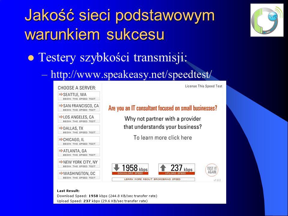 Jakość sieci podstawowym warunkiem sukcesu Testery szybkości transmisji: –http://www.speakeasy.net/speedtest/