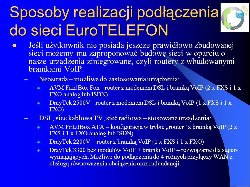 Sposoby realizacji podłączenia do sieci EuroTELEFON Jeśli użytkownik nie posiada jeszcze prawidłowo zbudowanej sieci możemy mu zaproponować budowę sieci w oparciu o nasze urządzenia zintegrowane, czyli routery z wbudowanymi bramkami VoIP.