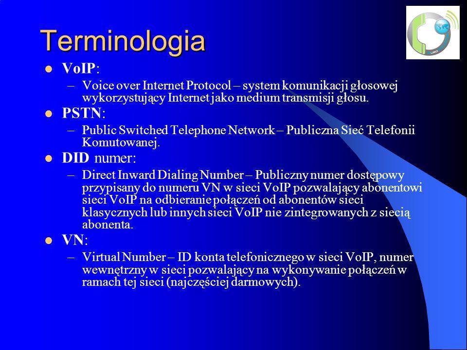 Terminologia SIP: –Session Initiation Protocol – Protokół Inicjacji Sesji opisany w normie RFC-3261, protokół zarządzający sesją VoIP oraz innymi sesjami multimedialnymi, jak video, instant massaging, sesjami gier internetowych itd.