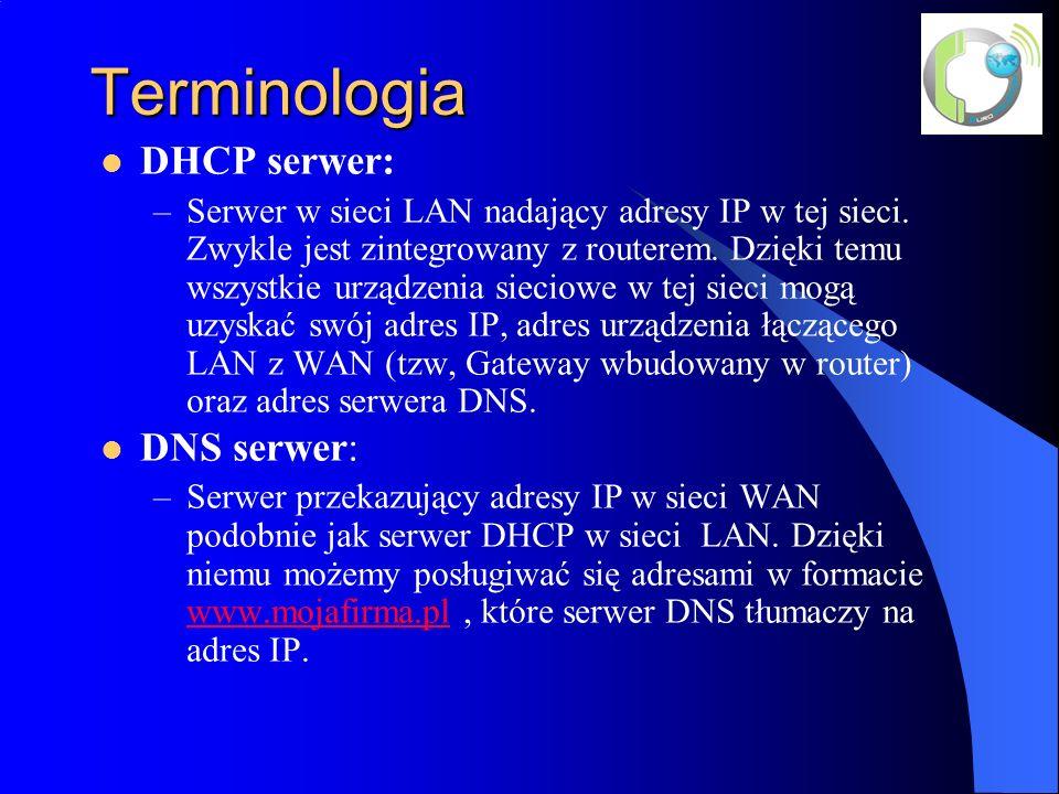 Terminologia DHCP serwer: –Serwer w sieci LAN nadający adresy IP w tej sieci.