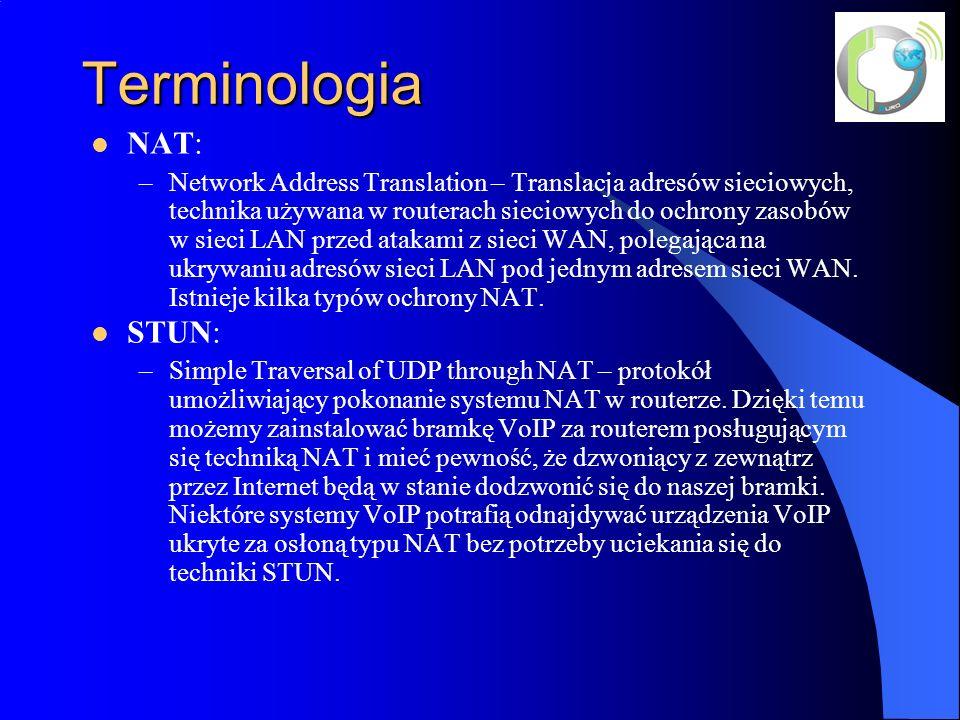 Terminologia NAT: –Network Address Translation – Translacja adresów sieciowych, technika używana w routerach sieciowych do ochrony zasobów w sieci LAN przed atakami z sieci WAN, polegająca na ukrywaniu adresów sieci LAN pod jednym adresem sieci WAN.