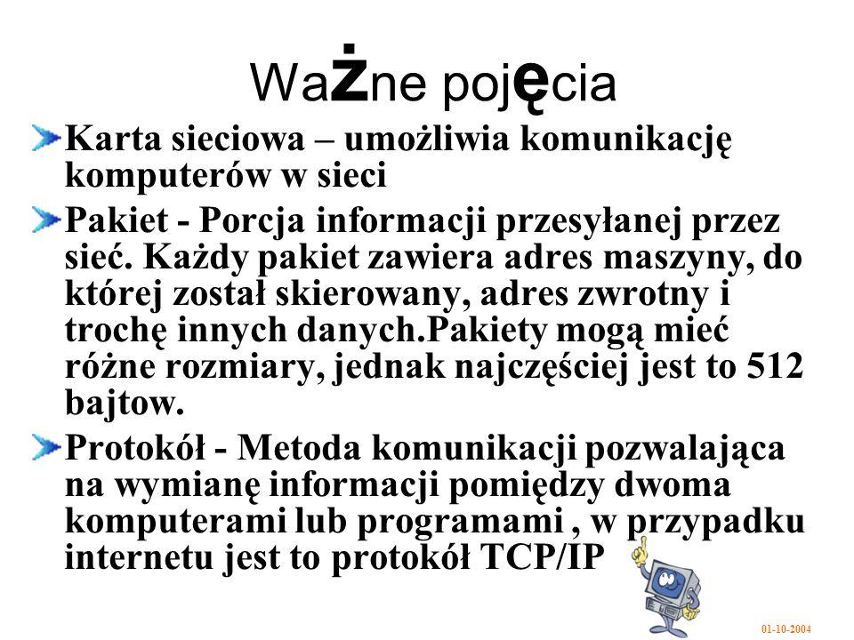 01-10-2004 Wa ż ne poj ę cia Karta sieciowa – umożliwia komunikację komputerów w sieci Pakiet - Porcja informacji przesyłanej przez sieć.