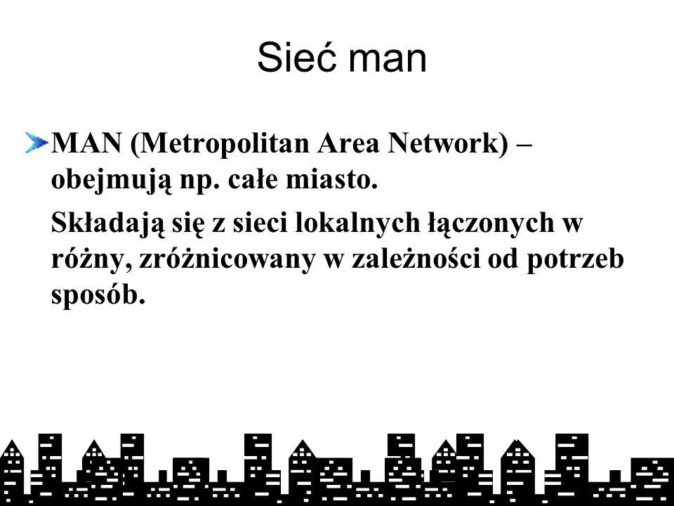 01-10-2004 Sieć man MAN (Metropolitan Area Network) – obejmują np.