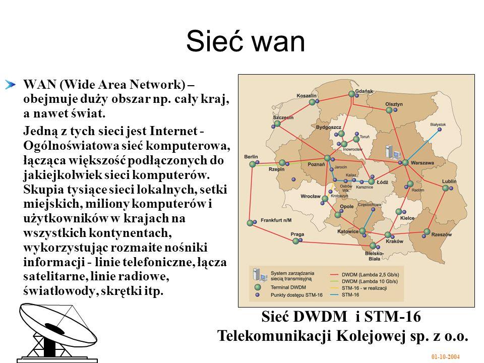 01-10-2004 Sieć wan WAN (Wide Area Network) – obejmuje duży obszar np.