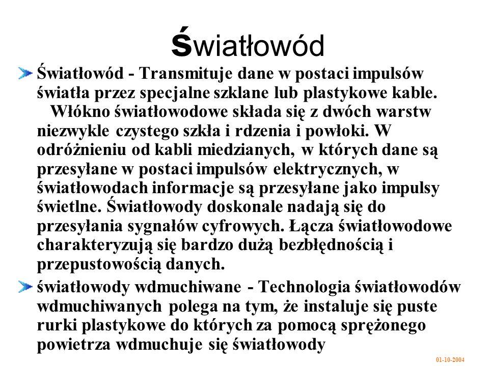 01-10-2004 ś wiatłowód Światłowód - Transmituje dane w postaci impulsów światła przez specjalne szklane lub plastykowe kable.