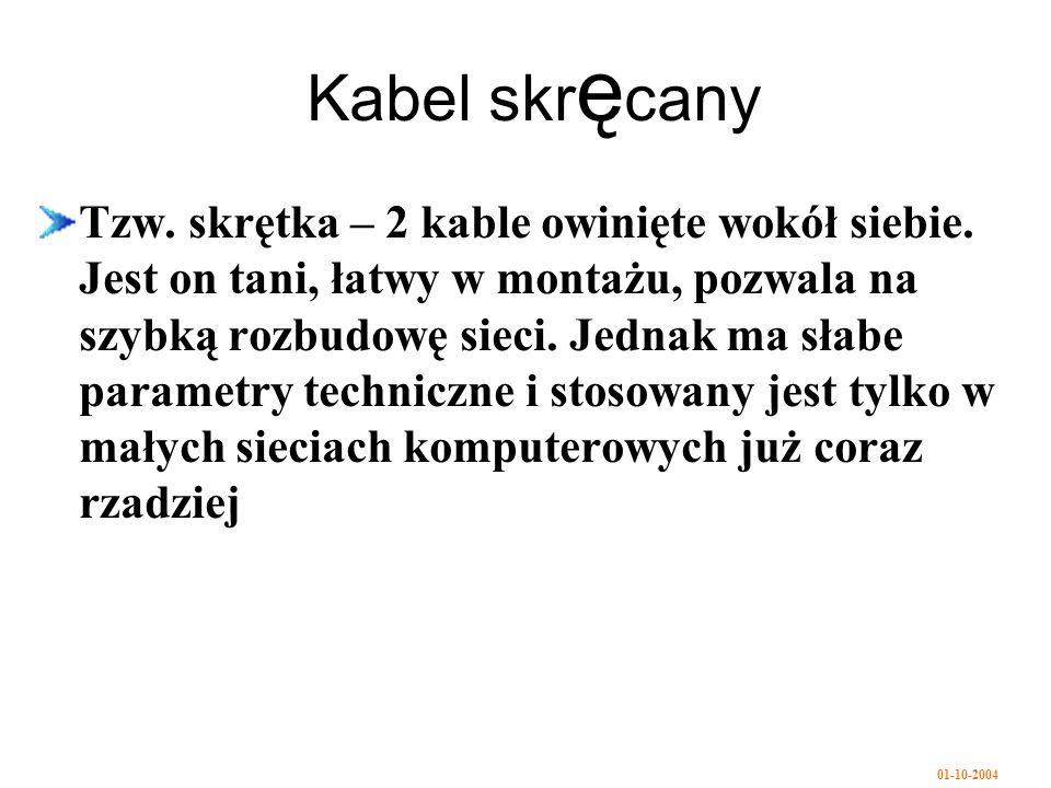 01-10-2004 Kabel skr ę cany Tzw.skrętka – 2 kable owinięte wokół siebie.