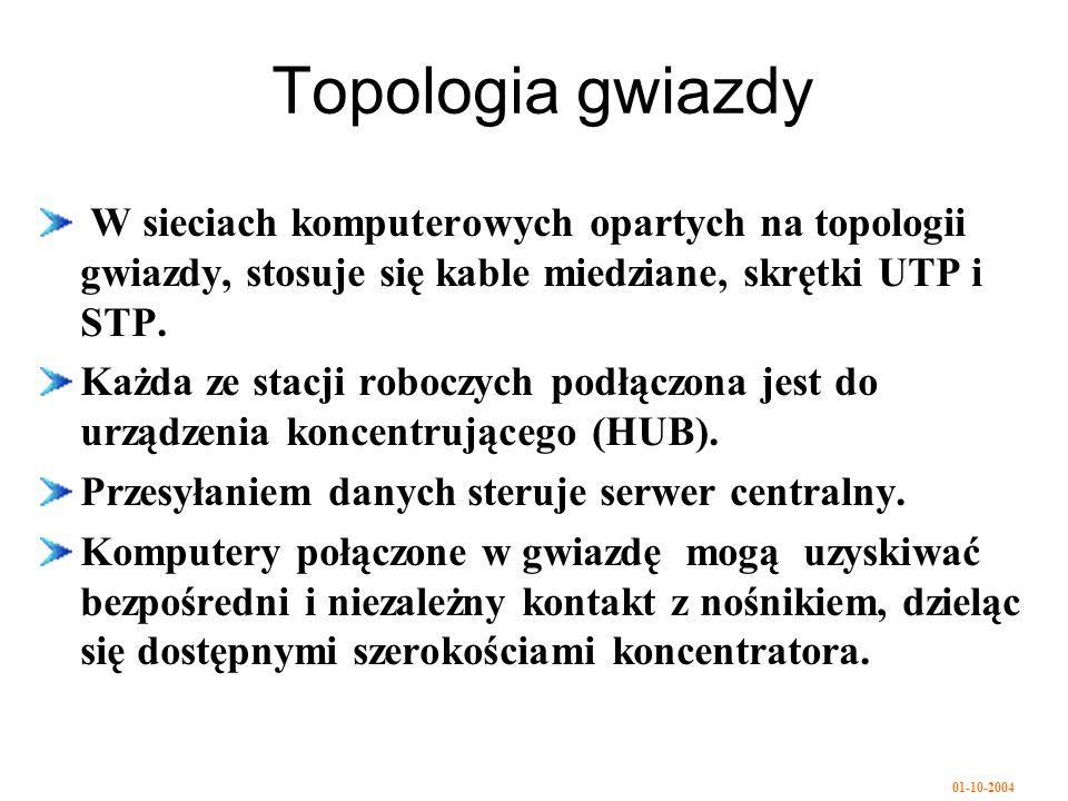 01-10-2004 Topologia gwiazdy W sieciach komputerowych opartych na topologii gwiazdy, stosuje się kable miedziane, skrętki UTP i STP.