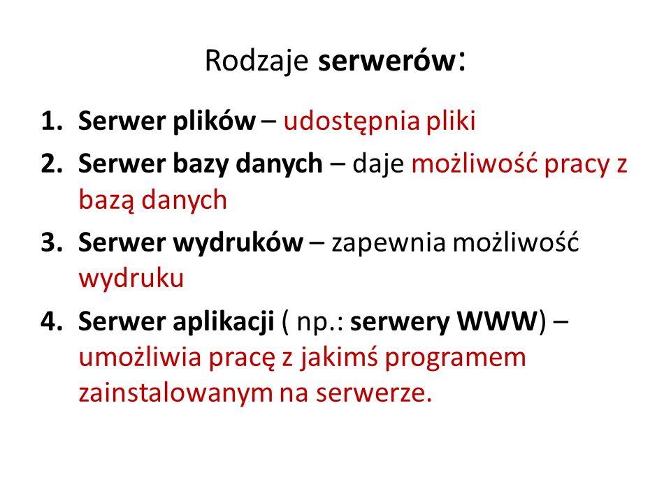 Rodzaje serwerów : 1.Serwer plików – udostępnia pliki 2.Serwer bazy danych – daje możliwość pracy z bazą danych 3.Serwer wydruków – zapewnia możliwość