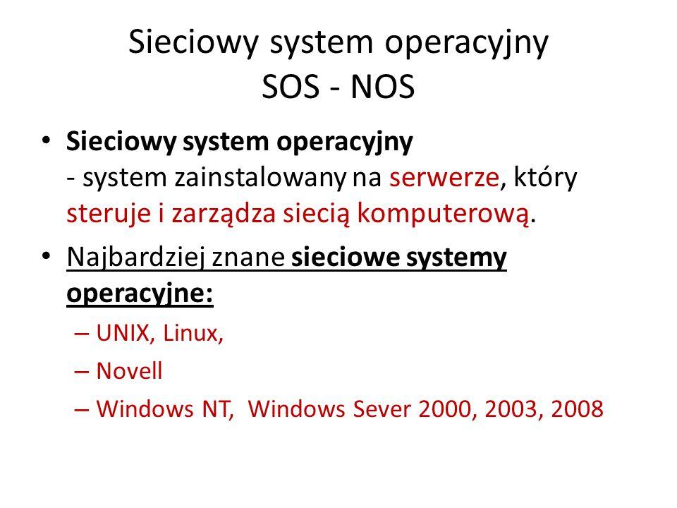 Sieciowy system operacyjny SOS - NOS Sieciowy system operacyjny - system zainstalowany na serwerze, który steruje i zarządza siecią komputerową. Najba