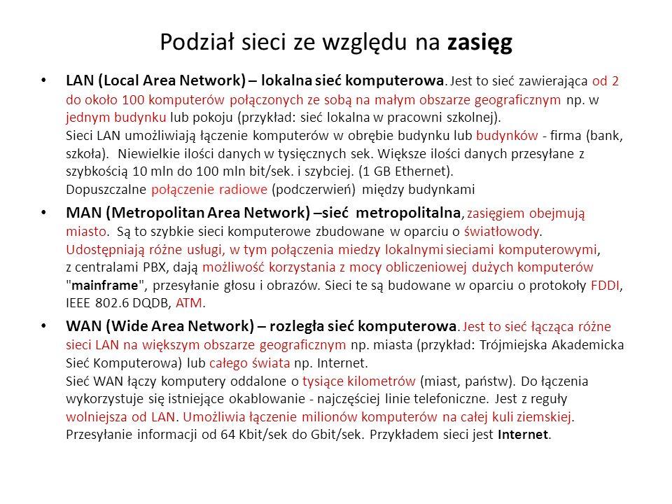Podział sieci ze względu na zasięg LAN (Local Area Network) – lokalna sieć komputerowa. Jest to sieć zawierająca od 2 do około 100 komputerów połączon
