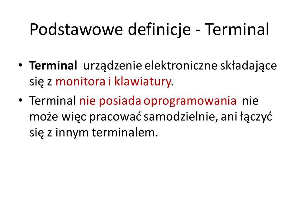 Podstawowe definicje - Terminal Terminal urządzenie elektroniczne składające się z monitora i klawiatury. Terminal nie posiada oprogramowania nie może