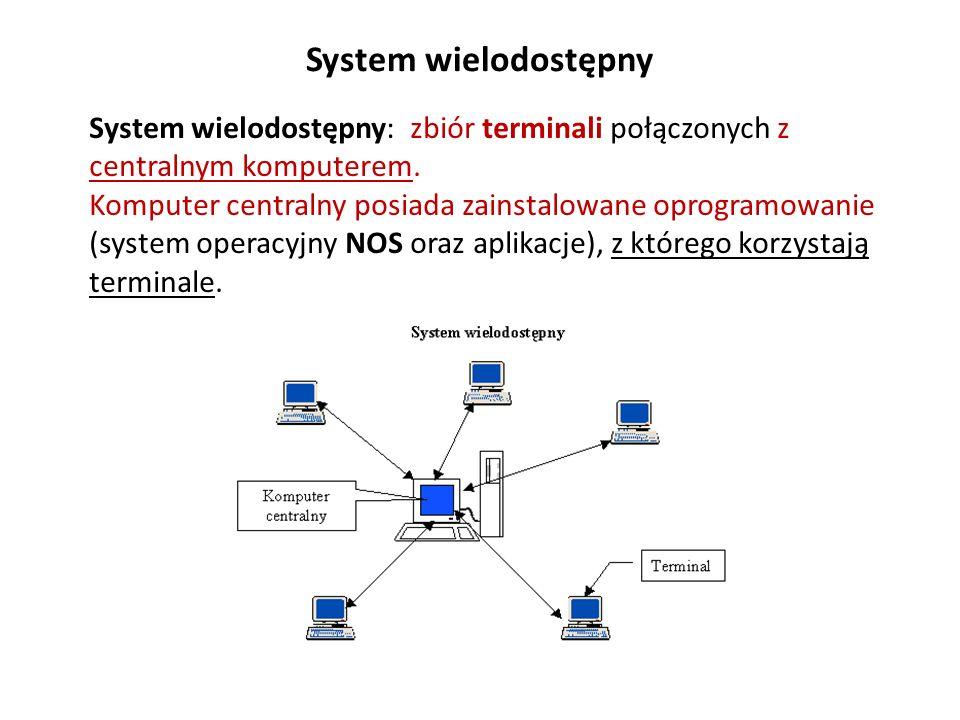 System wielodostępny System wielodostępny: zbiór terminali połączonych z centralnym komputerem. Komputer centralny posiada zainstalowane oprogramowani