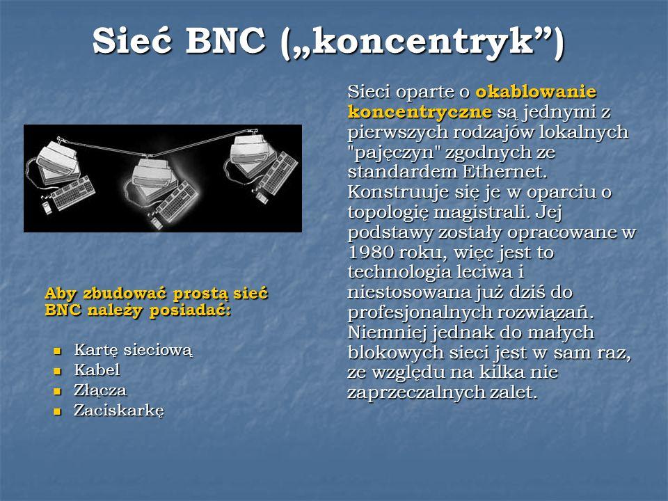 Sieć BNC (koncentryk) Sieci oparte o okablowanie koncentryczne są jednymi z pierwszych rodzajów lokalnych