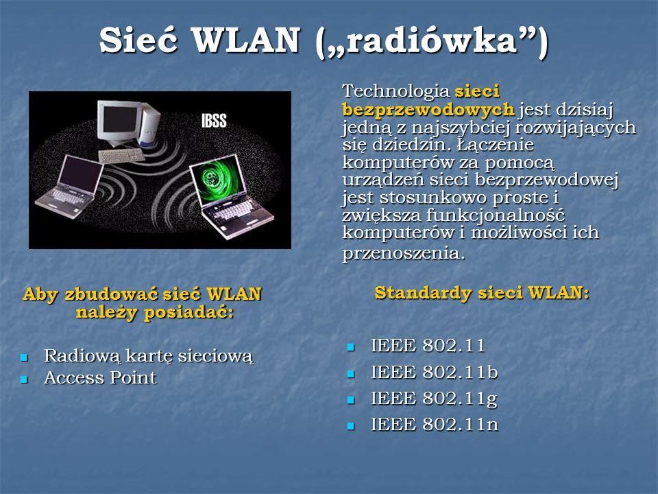 Sieć WLAN (radiówka) Technologia sieci bezprzewodowych jest dzisiaj jedną z najszybciej rozwijających się dziedzin. Łączenie komputerów za pomocą urzą
