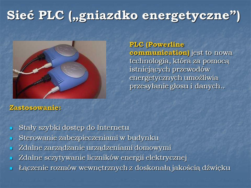 Sieć PLC (gniazdko energetyczne) PLC (Powerline communication) jest to nowa technologia, która za pomocą istniejących przewodów energetycznych umożliw