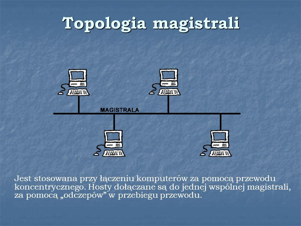 Topologia magistrali Jest stosowana przy łączeniu komputerów za pomocą przewodu koncentrycznego. Hosty dołączane są do jednej wspólnej magistrali, za