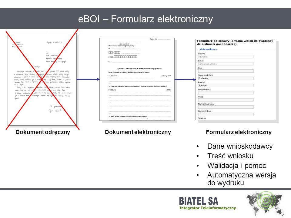 eBOI – Formularz elektroniczny Dokument elektronicznyDokument odręcznyFormularz elektroniczny Dane wnioskodawcy Treść wniosku Walidacja i pomoc Automa