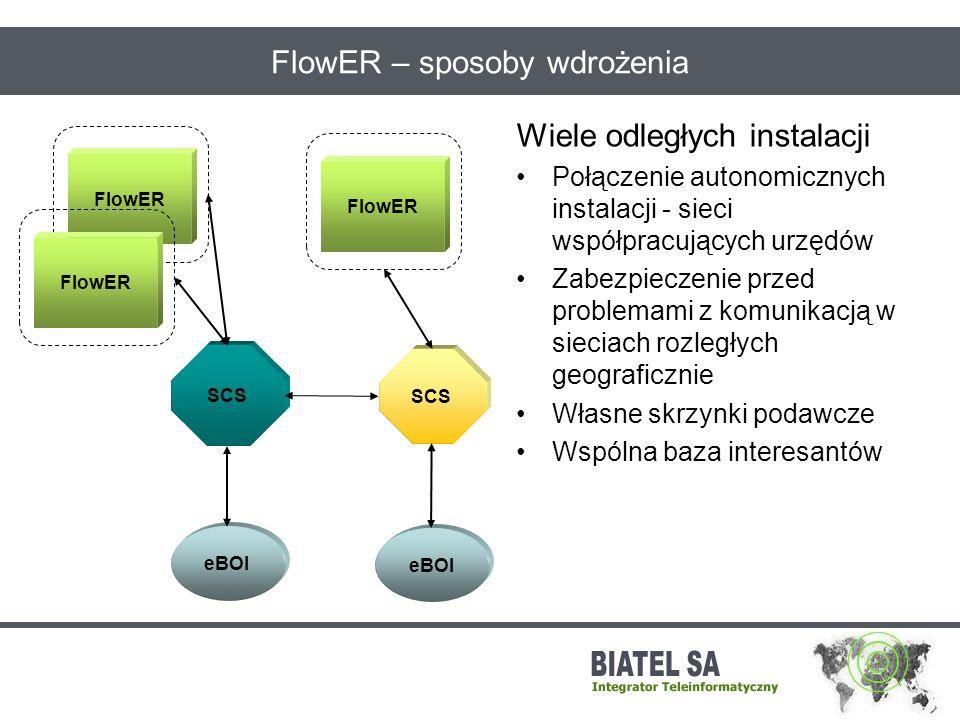 FlowER – sposoby wdrożenia Wiele odległych instalacji Połączenie autonomicznych instalacji - sieci współpracujących urzędów Zabezpieczenie przed probl