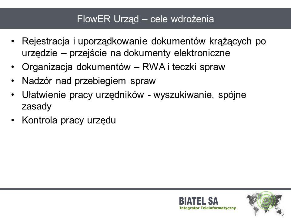 FlowER Urząd – cele wdrożenia Rejestracja i uporządkowanie dokumentów krążących po urzędzie – przejście na dokumenty elektroniczne Organizacja dokumen