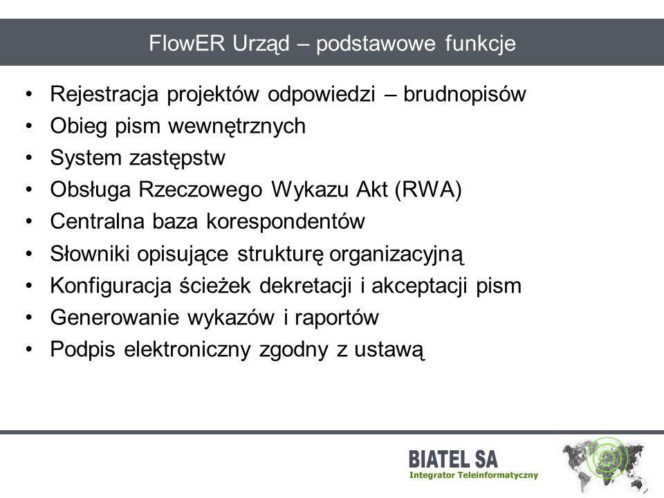 FlowER Urząd – podstawowe funkcje Rejestracja projektów odpowiedzi – brudnopisów Obieg pism wewnętrznych System zastępstw Obsługa Rzeczowego Wykazu Ak