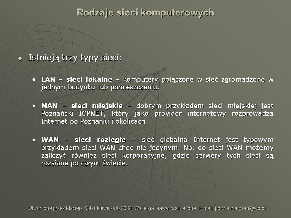 Rodzaje sieci komputerowych Istnieją trzy typy sieci: Istnieją trzy typy sieci: LAN – sieci lokalne – komputery połączone w sieć zgromadzone w jednym