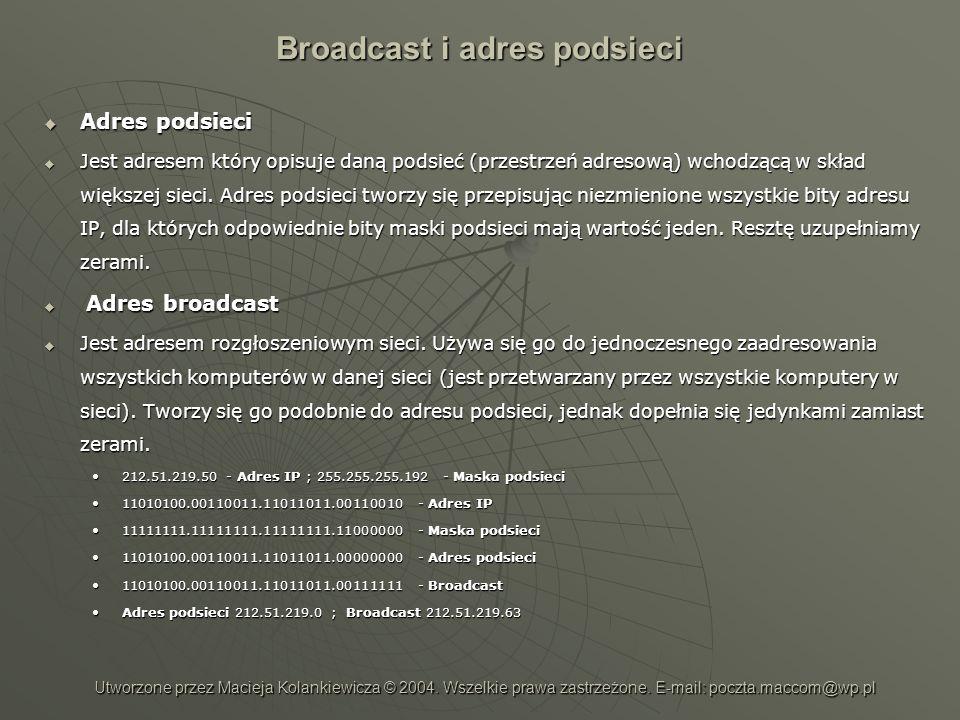 Broadcast i adres podsieci Adres podsieci Adres podsieci Jest adresem który opisuje daną podsieć (przestrzeń adresową) wchodzącą w skład większej siec