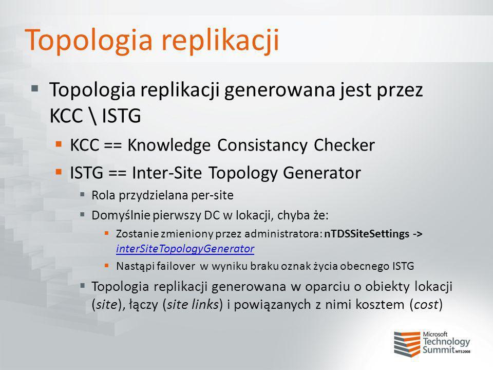 Topologia replikacji Topologia replikacji generowana jest przez KCC \ ISTG KCC == Knowledge Consistancy Checker ISTG == Inter-Site Topology Generator