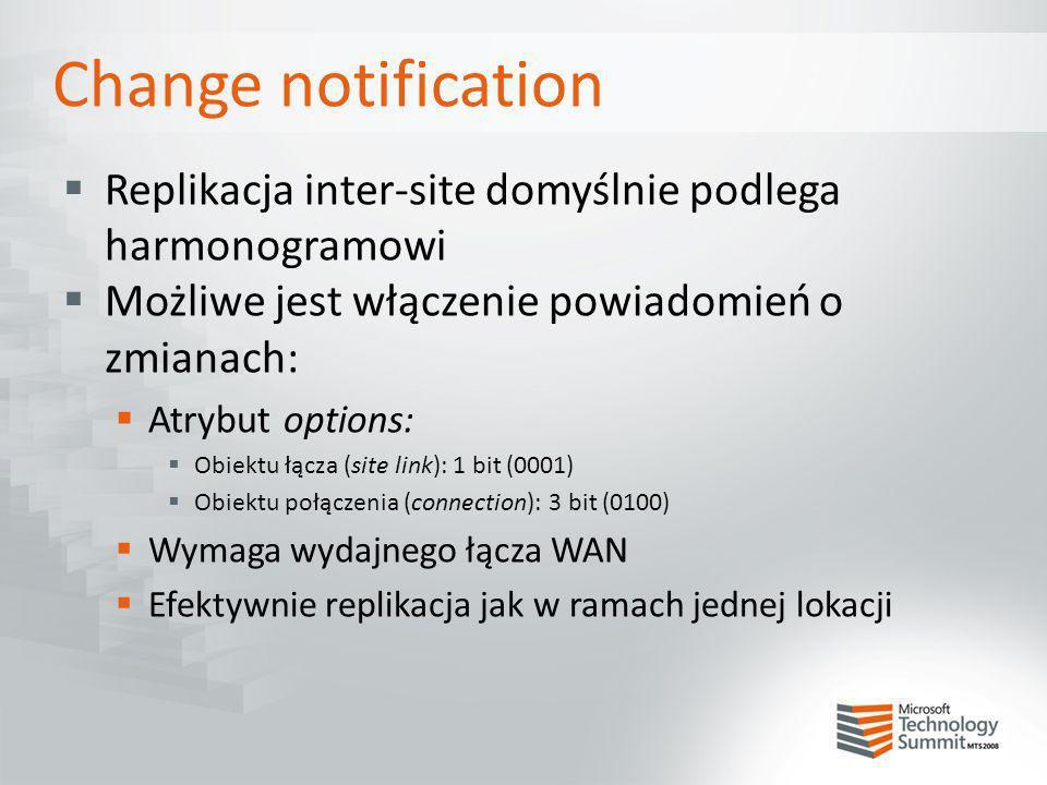 Change notification Replikacja inter-site domyślnie podlega harmonogramowi Możliwe jest włączenie powiadomień o zmianach: Atrybut options: Obiektu łąc