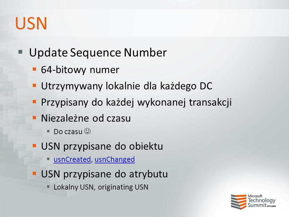 USN Update Sequence Number 64-bitowy numer Utrzymywany lokalnie dla każdego DC Przypisany do każdej wykonanej transakcji Niezależne od czasu Do czasu