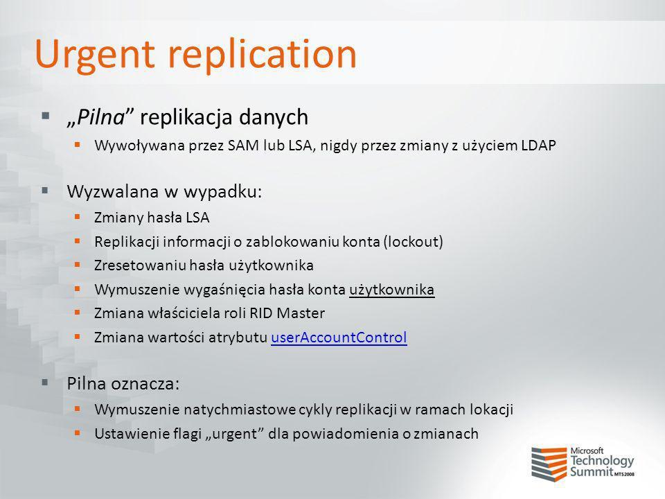 Pilna replikacja danych Wywoływana przez SAM lub LSA, nigdy przez zmiany z użyciem LDAP Wyzwalana w wypadku: Zmiany hasła LSA Replikacji informacji o