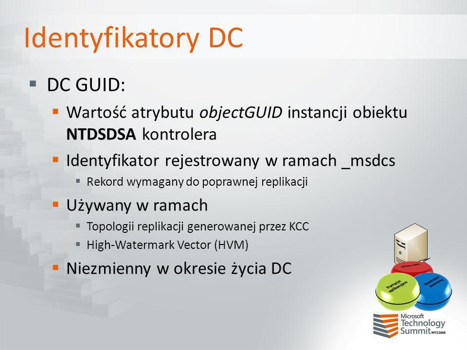 Identyfikatory DC Invocation ID Wartość atrybut invocationID instancji obiektu NTDSDSA kontrolera Domyślnie taki sam jak DC GUID Zmieniany po: Odtworzeniu bazy danych DC (poprawnym !!!) Re-host partycji aplikacyjnej (+, -, +) Wymuszoniu przez wpis w rejestrze Poprzednie wartości przechowywane są w retiredReplDSASignatures retiredReplDSASignatures