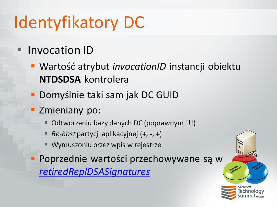 Identyfikatory DC Invocation ID Wartość atrybut invocationID instancji obiektu NTDSDSA kontrolera Domyślnie taki sam jak DC GUID Zmieniany po: Odtworz