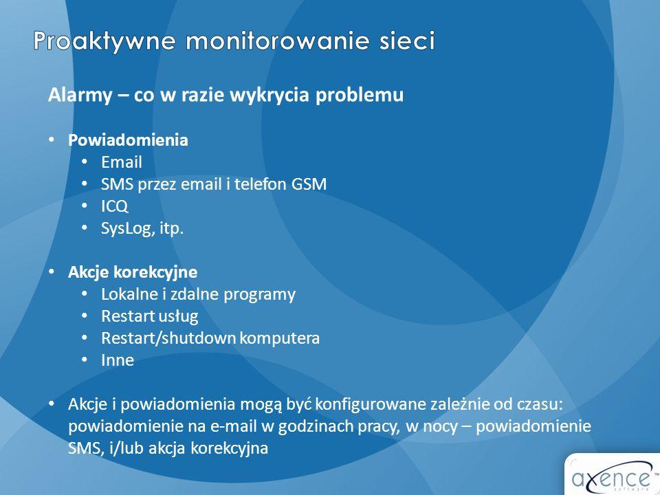 Alarmy – co w razie wykrycia problemu Powiadomienia Email SMS przez email i telefon GSM ICQ SysLog, itp. Akcje korekcyjne Lokalne i zdalne programy Re