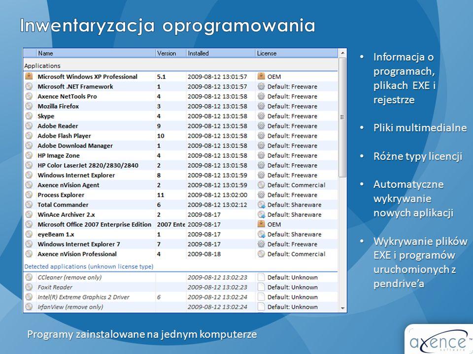 Informacja o programach, plikach EXE i rejestrze Informacja o programach, plikach EXE i rejestrze Pliki multimedialne Pliki multimedialne Różne typy l