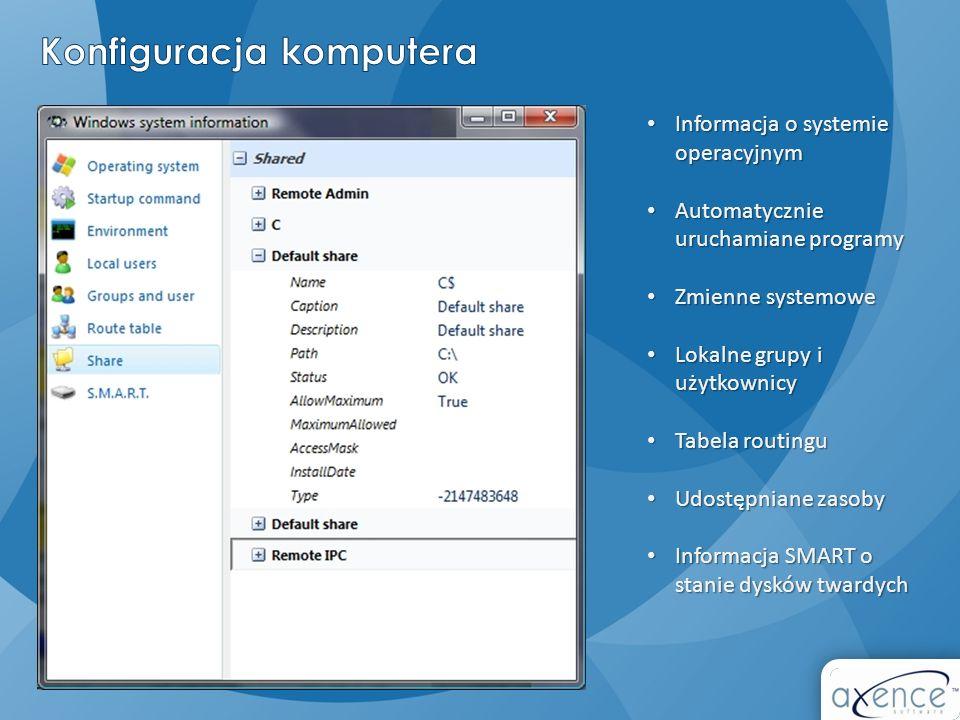 Informacja o systemie operacyjnym Informacja o systemie operacyjnym Automatycznie uruchamiane programy Automatycznie uruchamiane programy Zmienne syst