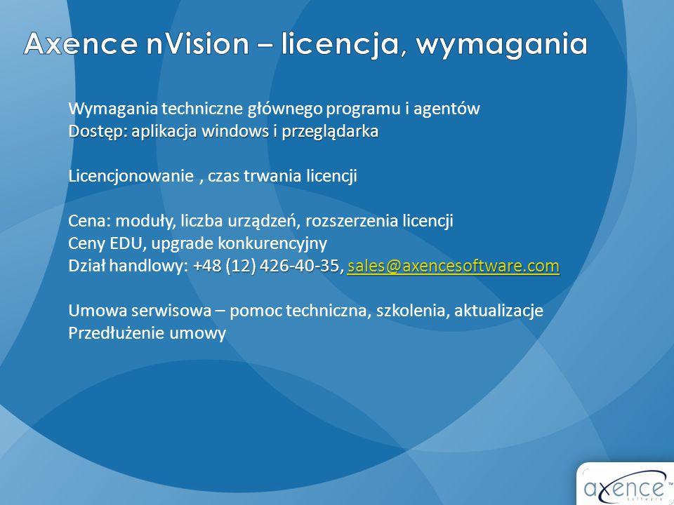 Dostęp: aplikacja windows i przeglądarka Wymagania techniczne głównego programu i agentów Dostęp: aplikacja windows i przeglądarka Licencjonowanie, cz