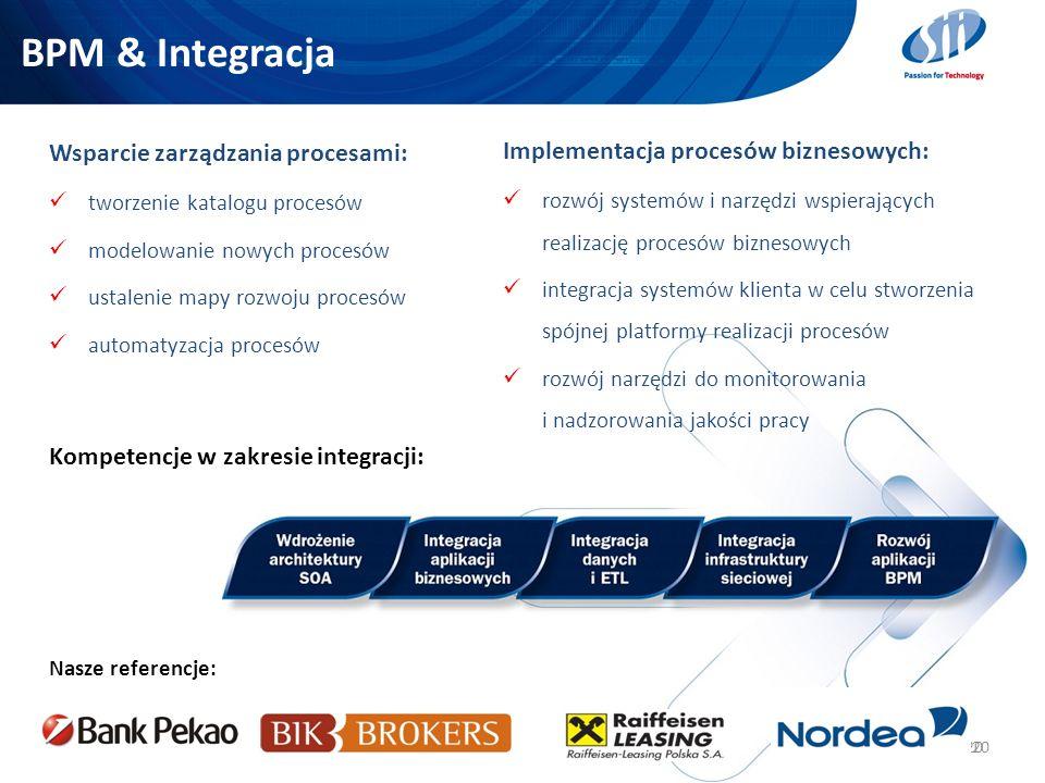 20 BPM & Integracja 20 Wsparcie zarządzania procesami: tworzenie katalogu procesów modelowanie nowych procesów ustalenie mapy rozwoju procesów automat