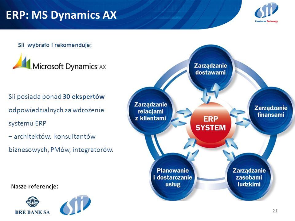 ERP: MS Dynamics AX 21 Nasze referencje: Sii posiada ponad 30 ekspertów odpowiedzialnych za wdrożenie systemu ERP – architektów, konsultantów biznesow