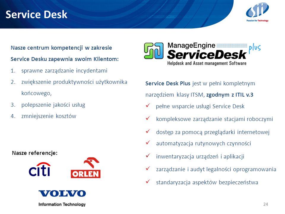 Service Desk 24 Nasze referencje: Nasze centrum kompetencji w zakresie Service Desku zapewnia swoim Klientom: 1.sprawne zarządzanie incydentami 2.zwię