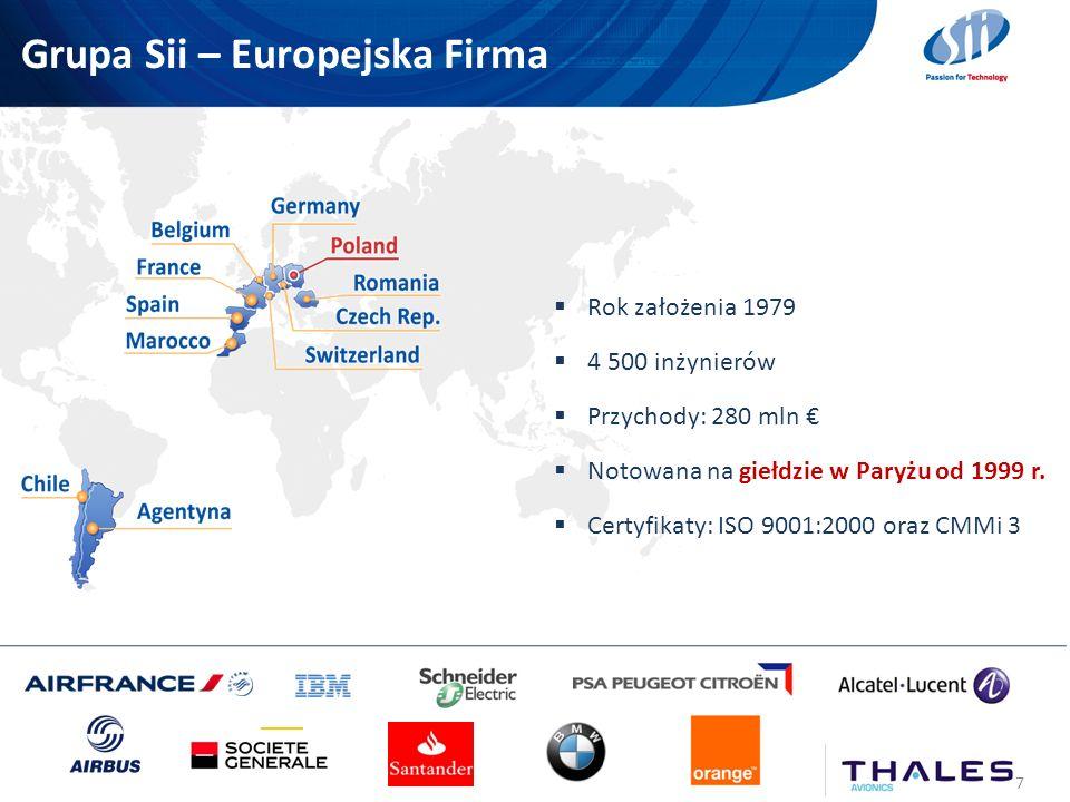 Grupa Sii – Europejska Firma 7 Rok założenia 1979 4 500 inżynierów Przychody: 280 mln Notowana na giełdzie w Paryżu od 1999 r. Certyfikaty: ISO 9001:2